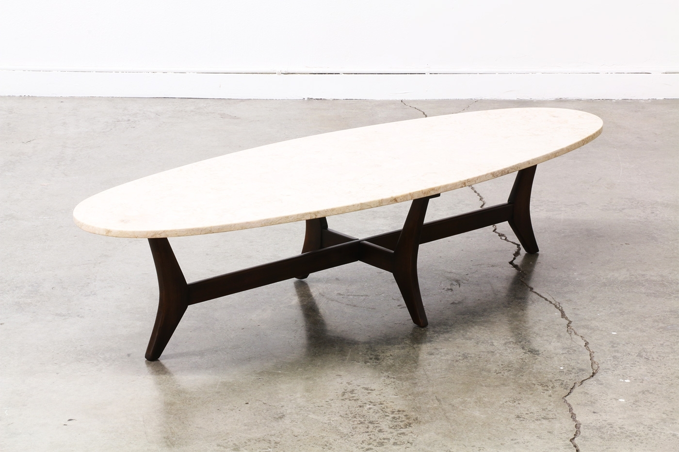 Mid Century Surfboard Style Marble Top Coffee Table , | Vintage in Mid-Century Modern Marble Coffee Tables (Image 20 of 30)