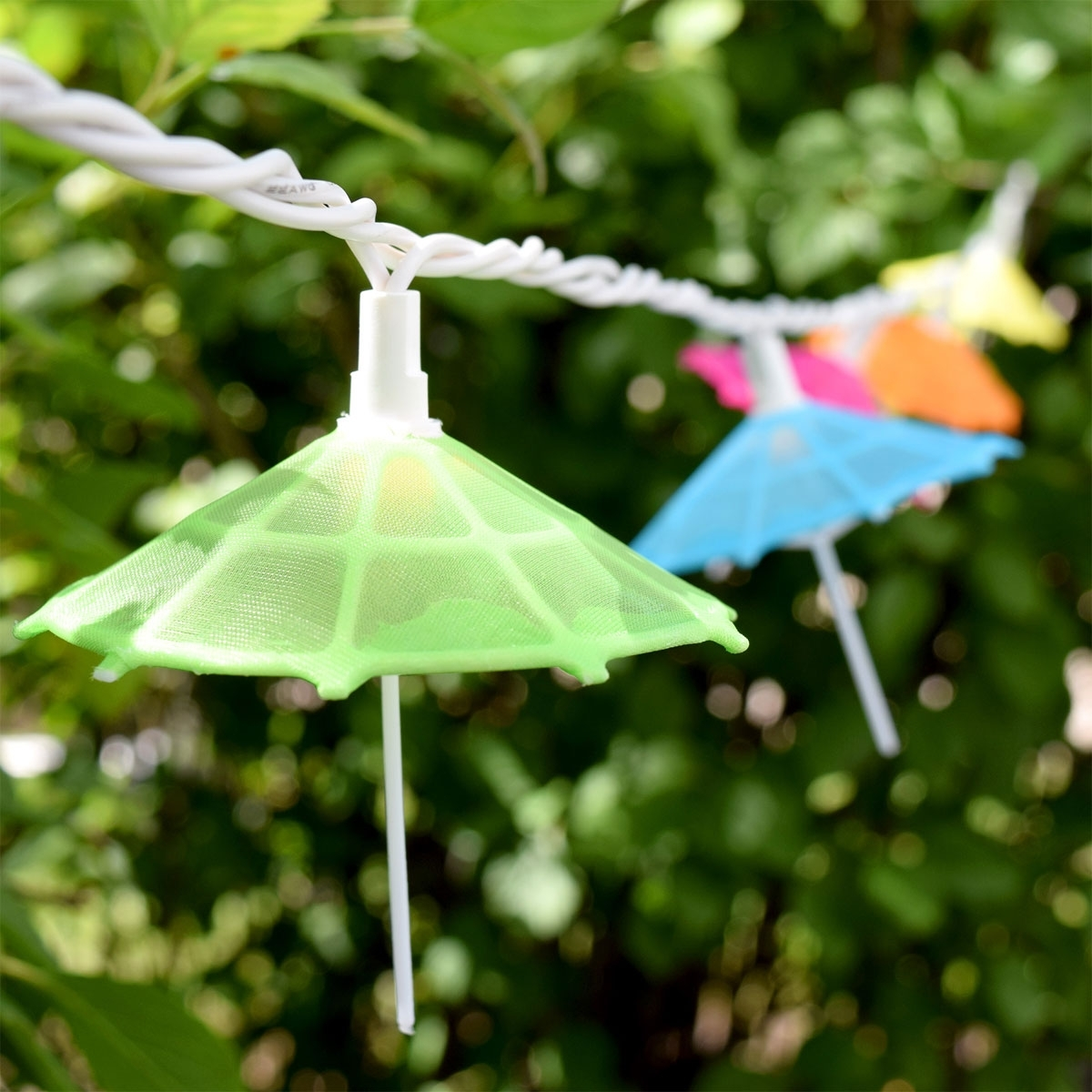 Mini Umbrella Party String Lights - 10 Lights with Outdoor Tropical Lanterns (Image 10 of 20)