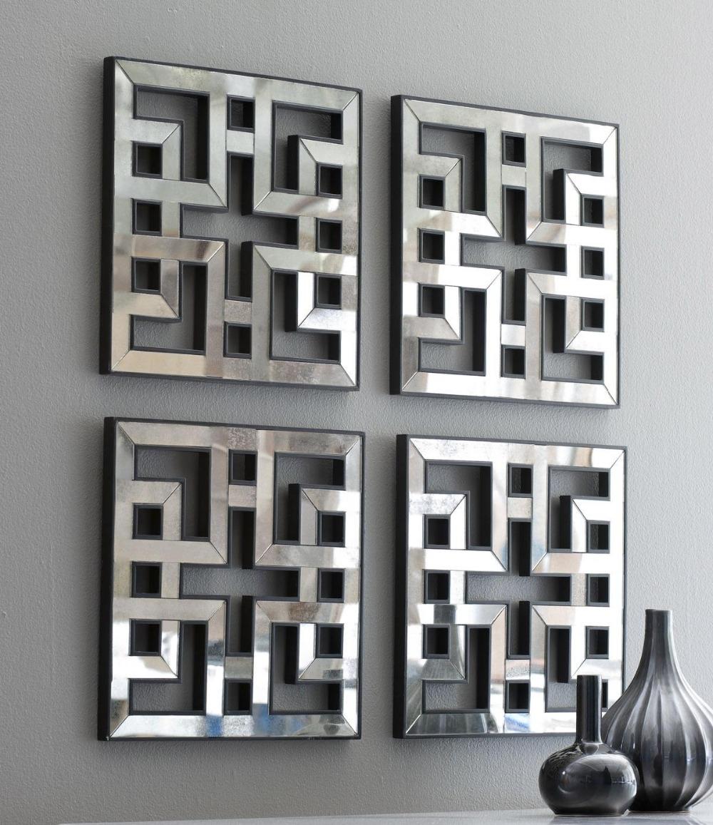 Mirrored Wall Decor Fretwork Square Mirror Framed Wall Art, Mirror Pertaining To Mirrored Wall Art (View 13 of 20)