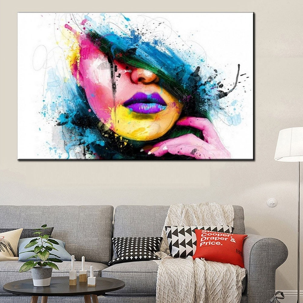 Modern Abstract Canvas Wall Art Painted Oil Painting Of A Woman's pertaining to Abstract Canvas Wall Art (Image 13 of 20)
