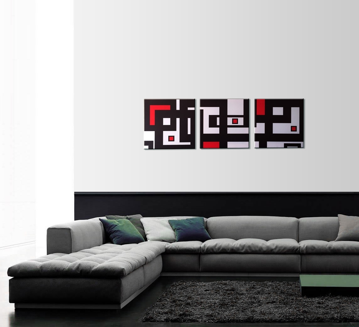 Modern Abstract Geometry 3 Piece Wall Art In Red And Black Canvas Wall Art (View 4 of 20)