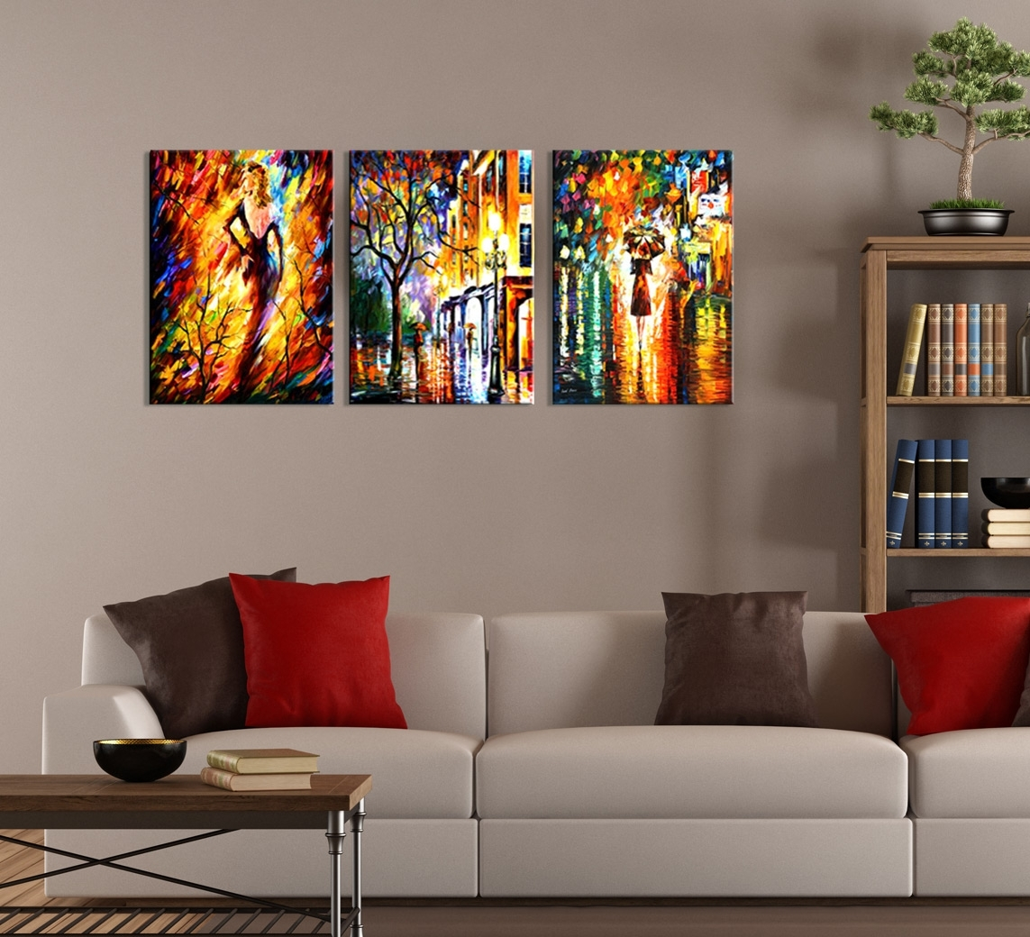 Modern Abstract Night City Painting 3-Piece Wall Art within 3 Piece Wall Art (Image 16 of 20)
