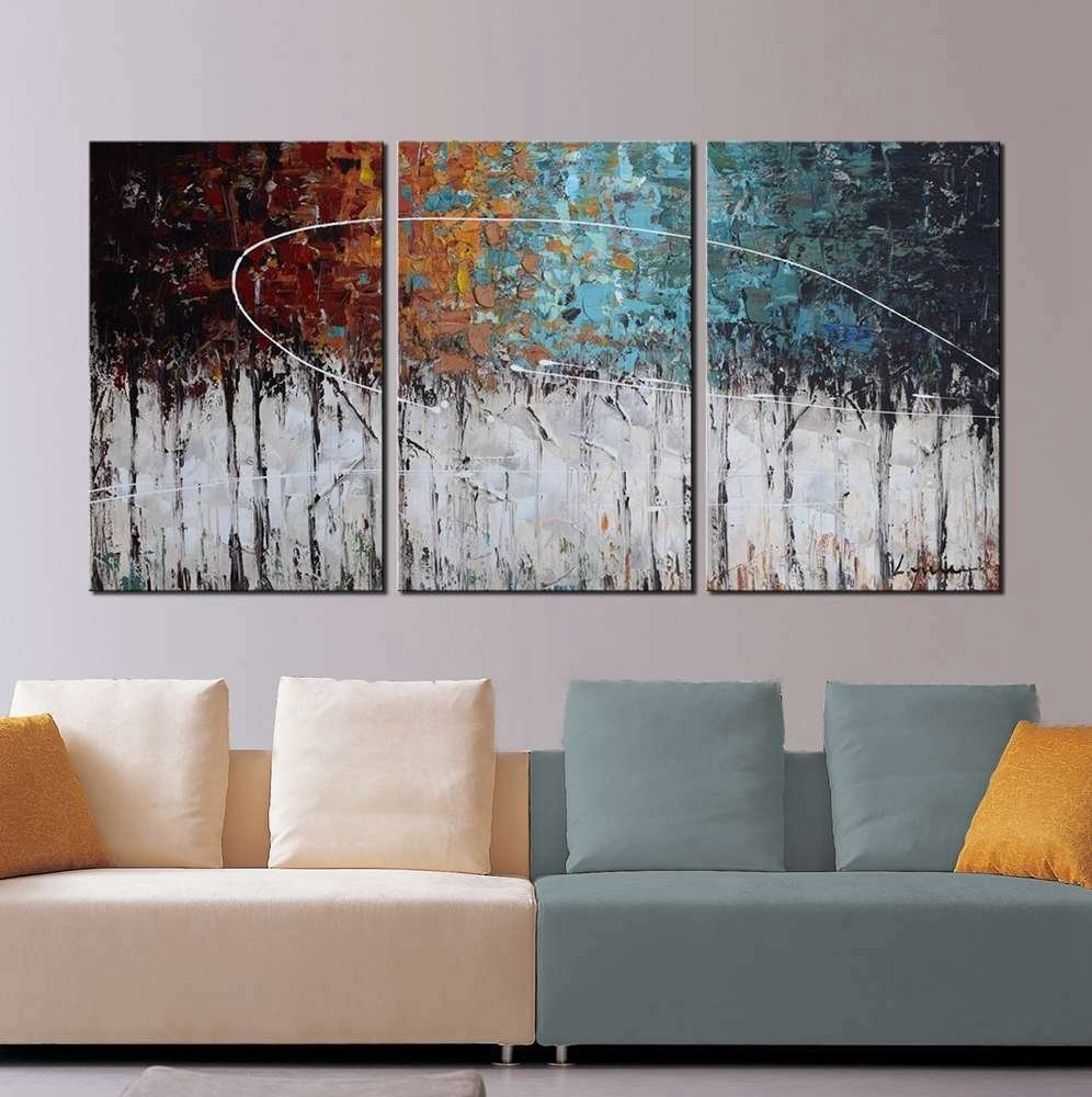 Modern Art Abstract Painting Color Forest 3 Panel Canvas Art For 3 Piece Canvas Wall Art (View 15 of 20)