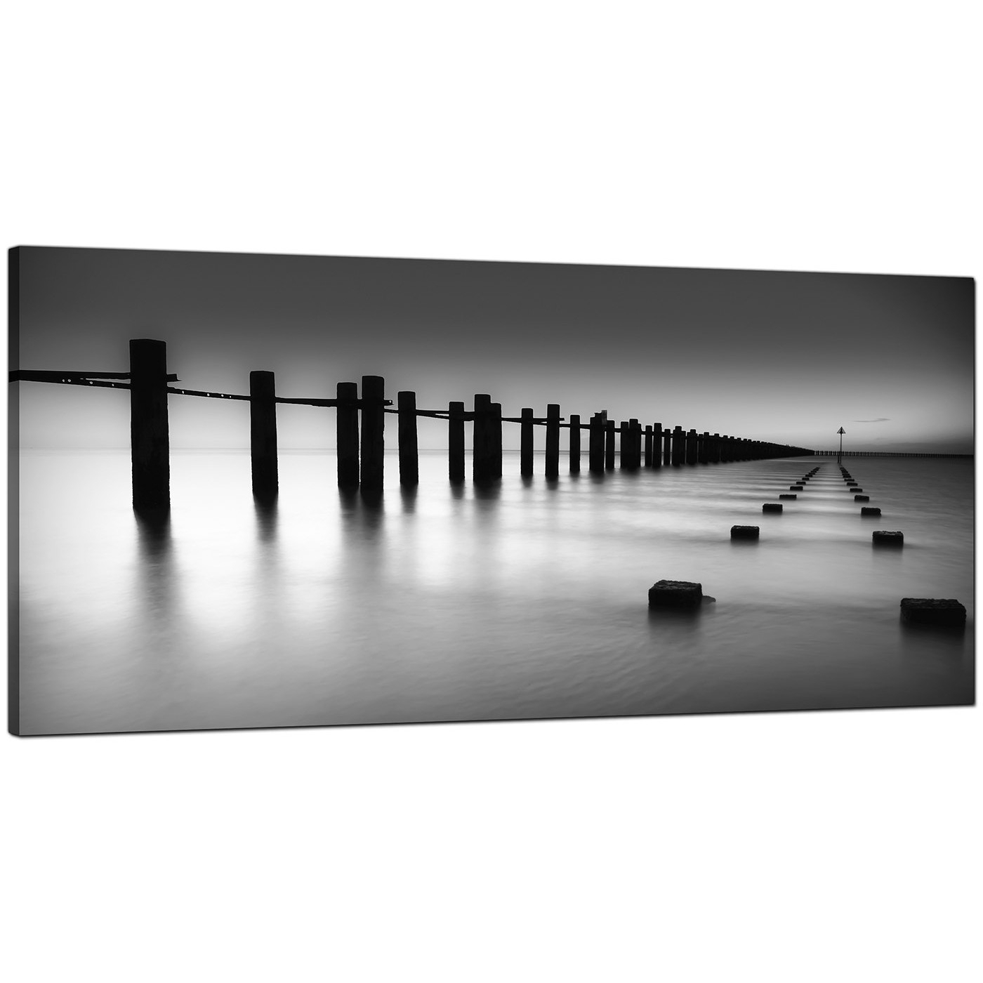 Modern Black And White Canvas Art Of The Sea pertaining to Black And White Wall Art (Image 15 of 20)