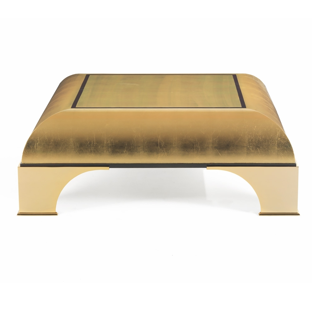 Modern High End Gold Leaf Square Coffee Table | Juliettes Interiors pertaining to Gold Leaf Collection Coffee Tables (Image 22 of 30)
