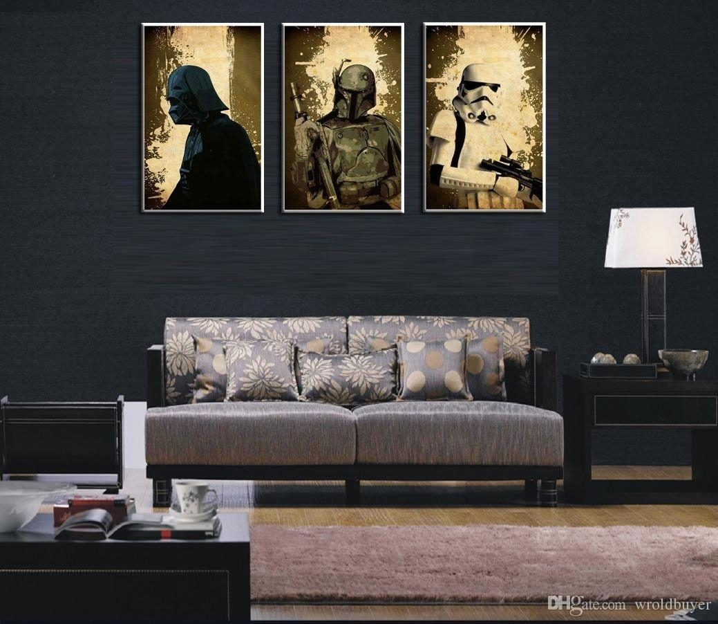 Modern Huge Wall Art Oil Painting On Canvas,star Wars Characters No With Regard To Star Wars Wall Art (View 6 of 20)