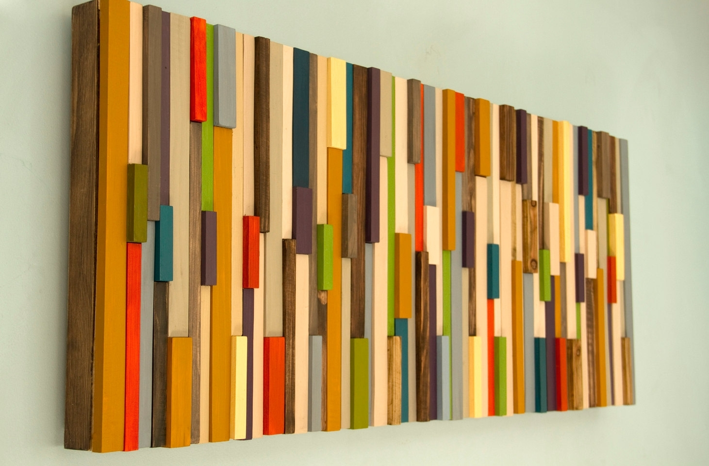 Modern Large Wall Art, Reclaimed Wood Art Sculpture, Mid Century With Regard To Mid Century Wall Art (View 4 of 20)
