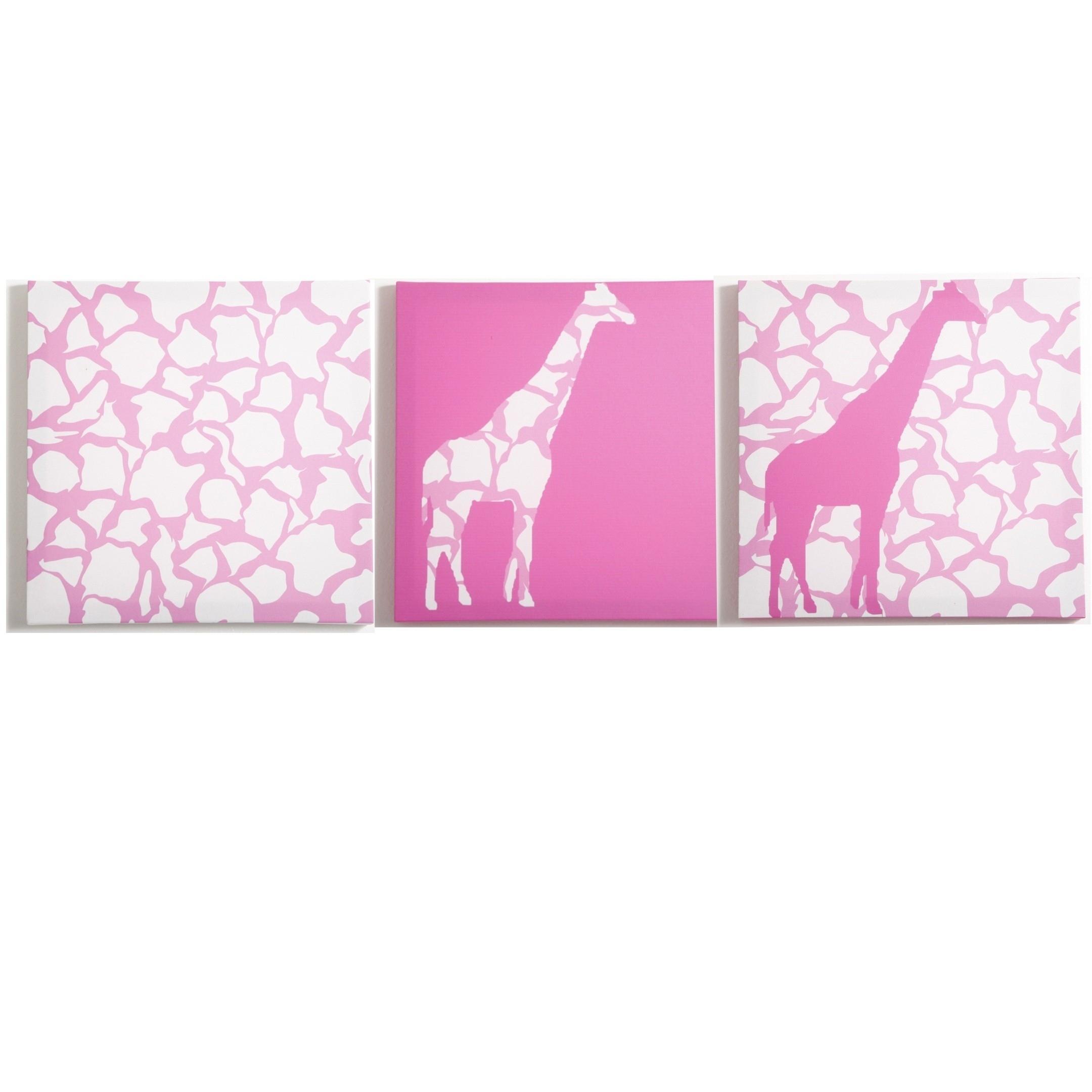 Modern Littles - Rose Giraffe - Canvas Wall Art - 3 Pc. Set intended for Giraffe Canvas Wall Art (Image 12 of 20)