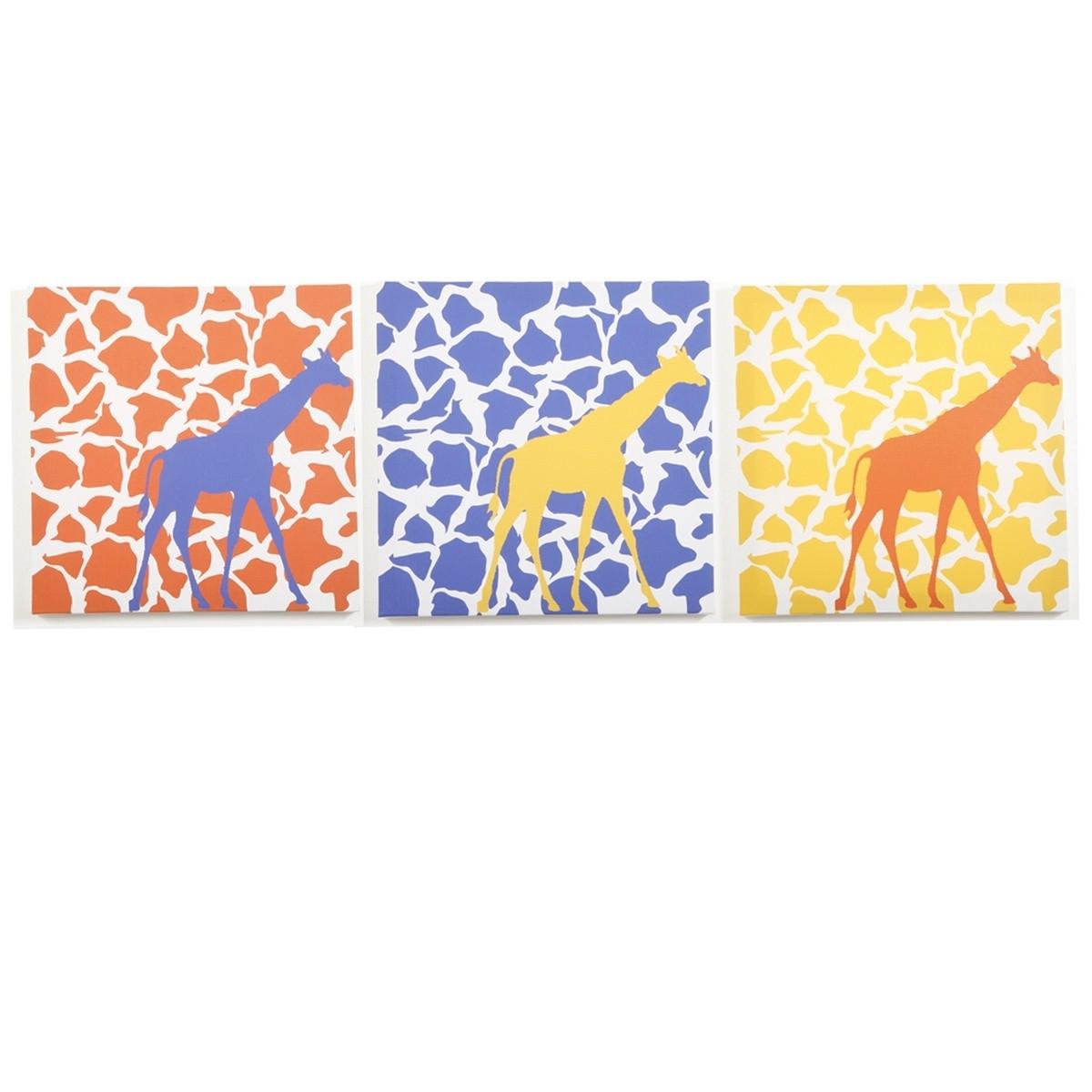 Modern Littles - Rusty Giraffe - Canvas Wall Art - 3 Pc. Set for Giraffe Canvas Wall Art (Image 13 of 20)