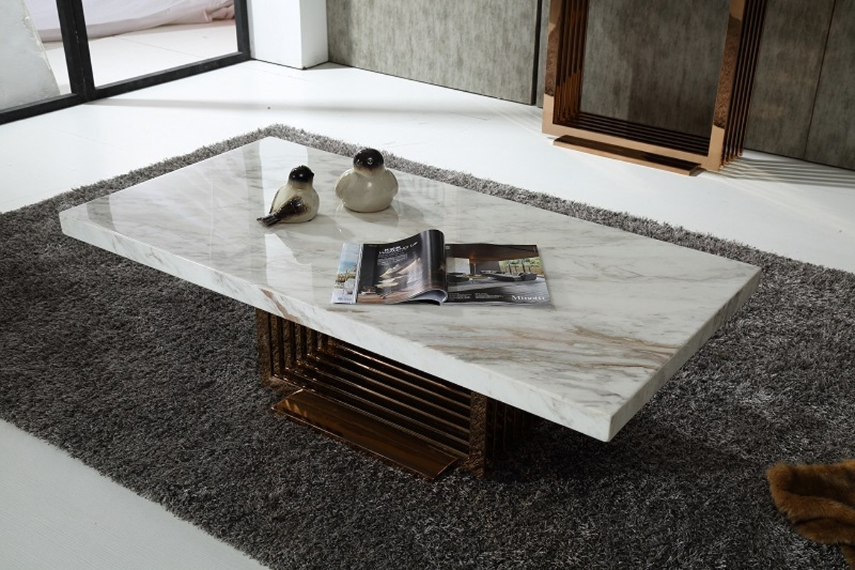 Modern Marble Top And Rosegold Base Coffee Table Fort Worth Texas inside 2 Tone Grey and White Marble Coffee Tables (Image 22 of 30)