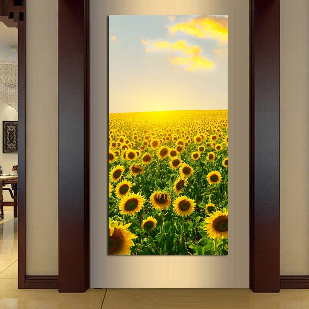 Modern Natural Landscape Canvas Printings Sunflower Wall Art Canvas pertaining to Sunflower Wall Art (Image 10 of 20)