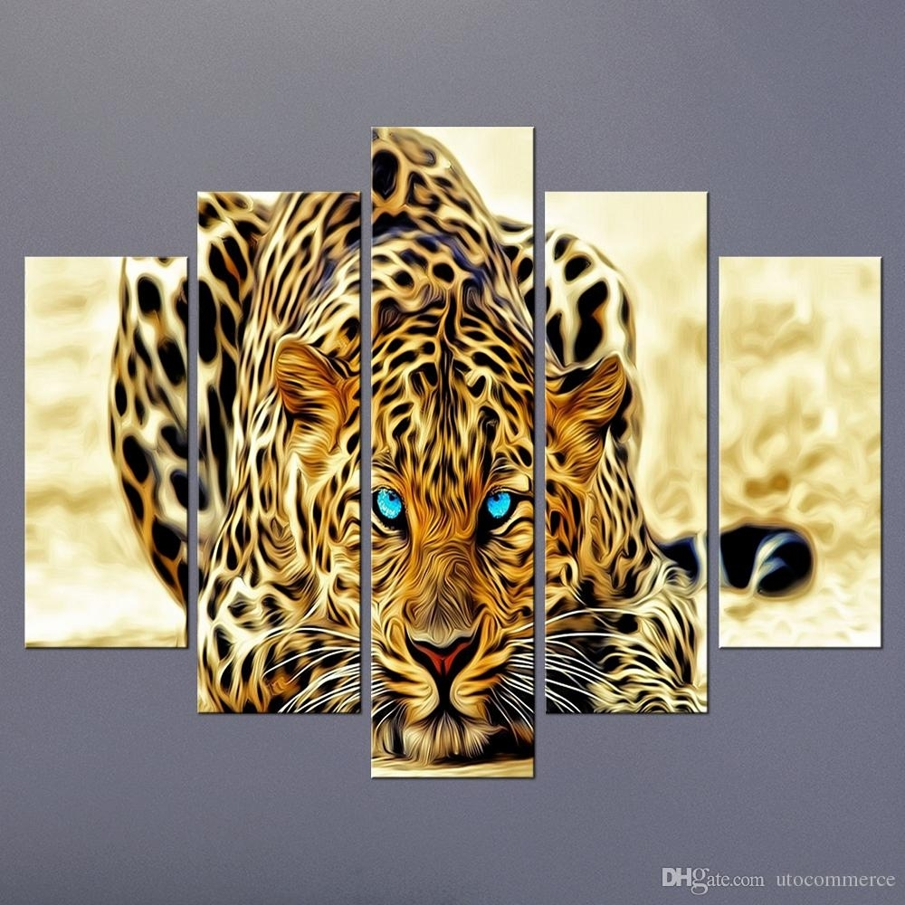 Modern Unframed Modular Paintings On Canvas Art Panel Of Cheetah in Animal Canvas Wall Art (Image 19 of 20)
