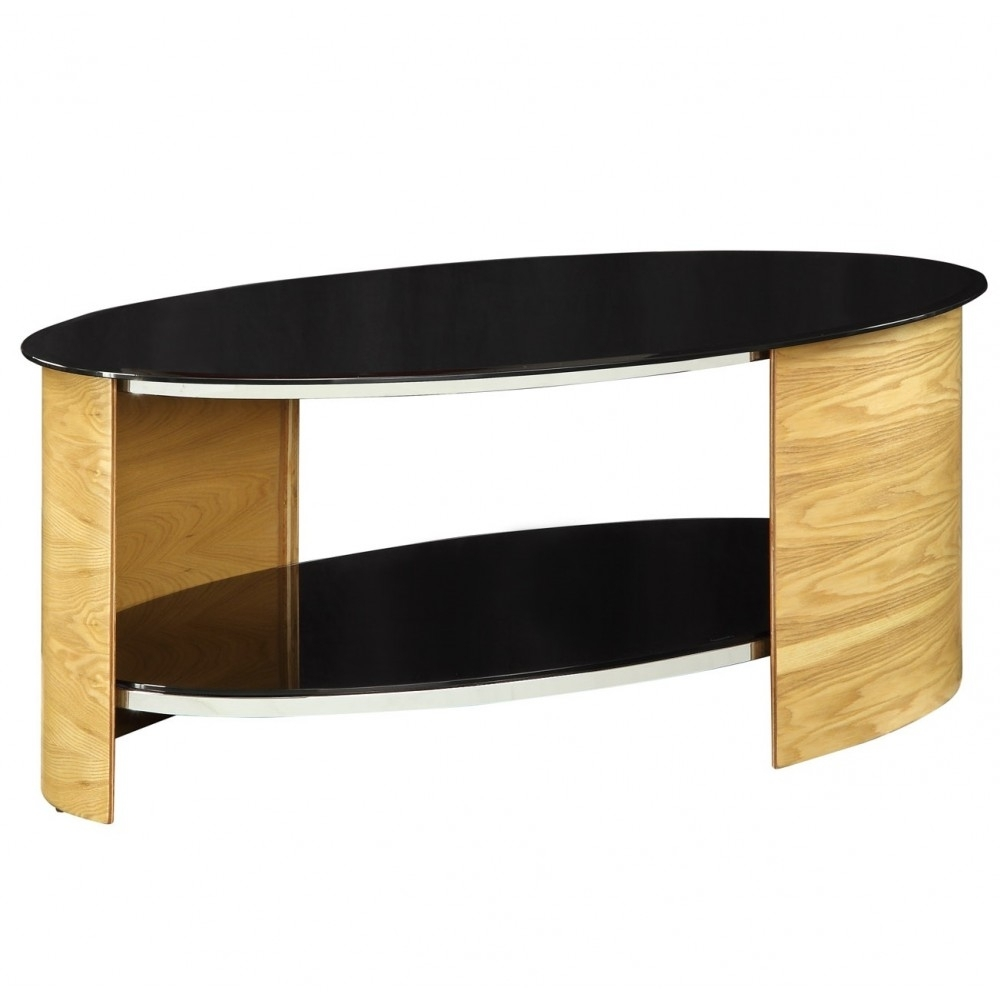 Modern Unusual Oak Wood Coffee Table Oval Glass Shelves Throughout Contemporary Curves Coffee Tables (View 19 of 30)