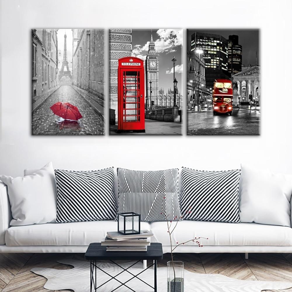 Modern Wall Art Framework Canvas Pictures 3 Pieces Paris Black White inside Paris Wall Art (Image 12 of 20)