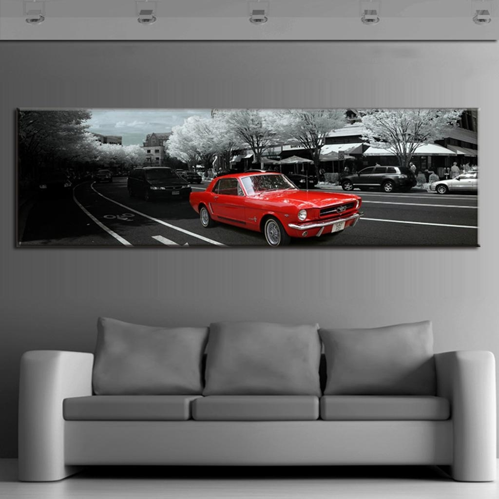 Modern Wall Paintings The City Red Car Canvas Prints Wall Art Large with Car Canvas Wall Art (Image 19 of 20)