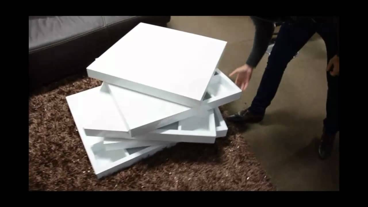 Modern White Lacquer Rotating Coffee Table With Storage | (866)397 In Spin Rotating Coffee Tables (View 15 of 30)