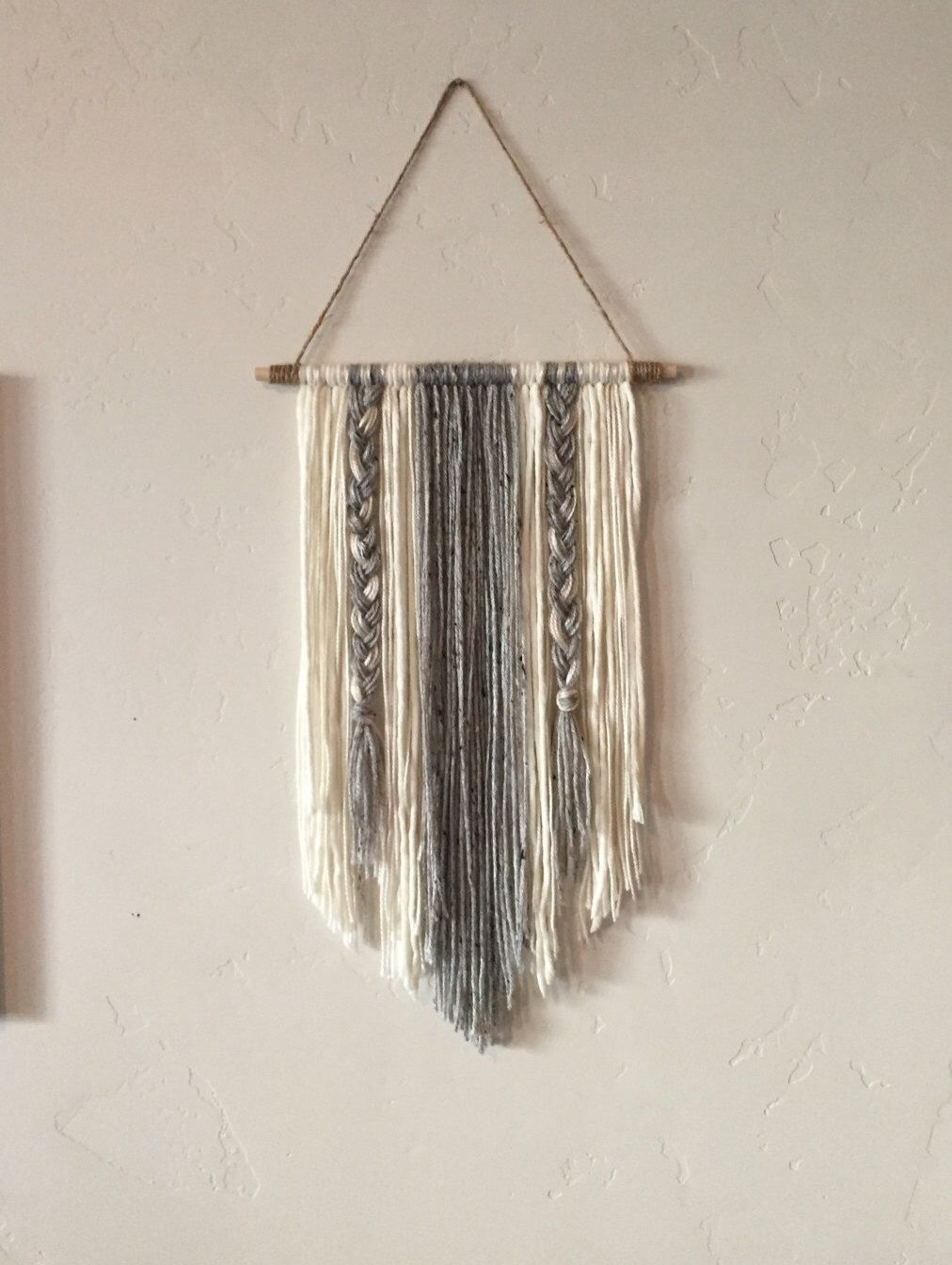Modern Yarn Wall Hanging Gray And Ivory | Diy Crafts | Pinterest With Regard To Yarn Wall Art (View 2 of 20)