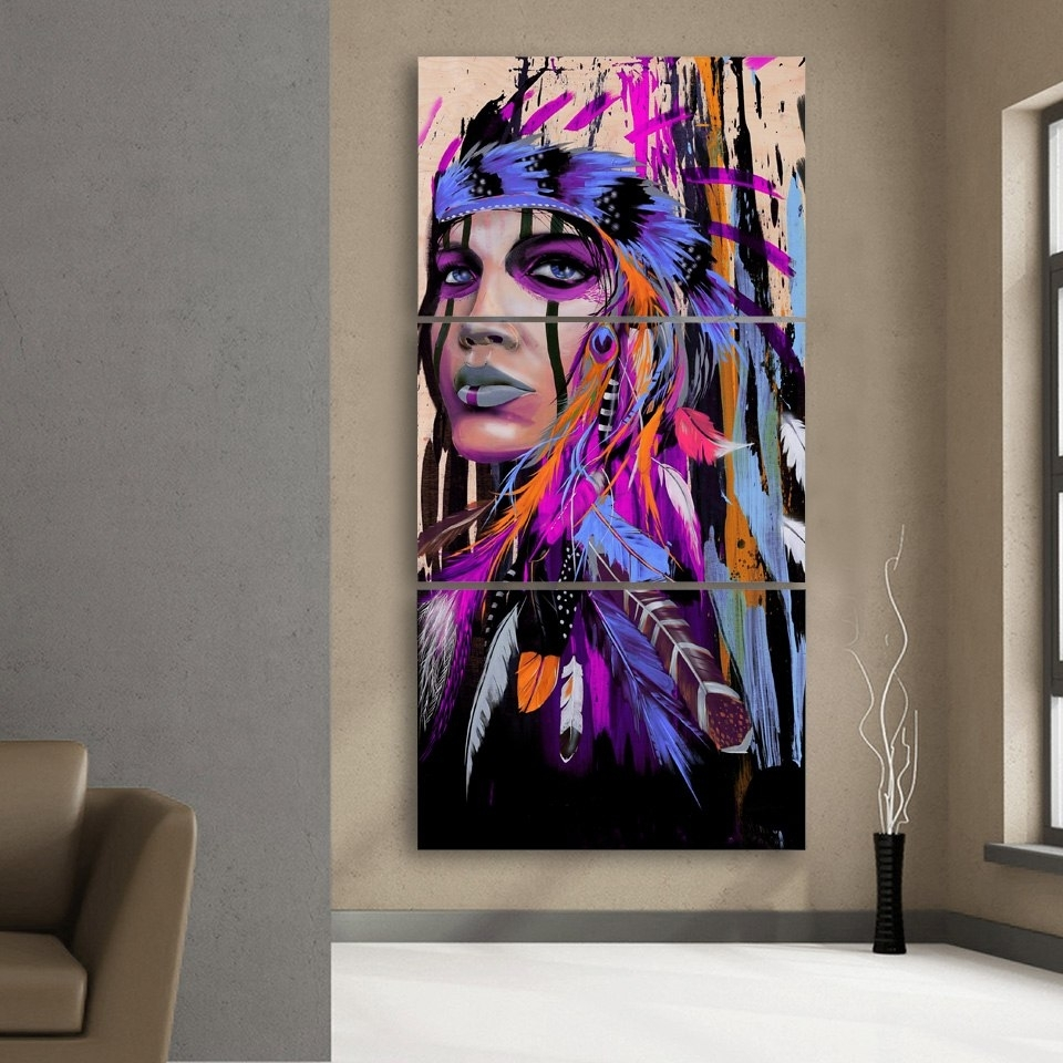 Modular Canvas Wall Art Printed Pictures Frame 3 Pieces Native Regarding Native American Wall Art (View 12 of 20)