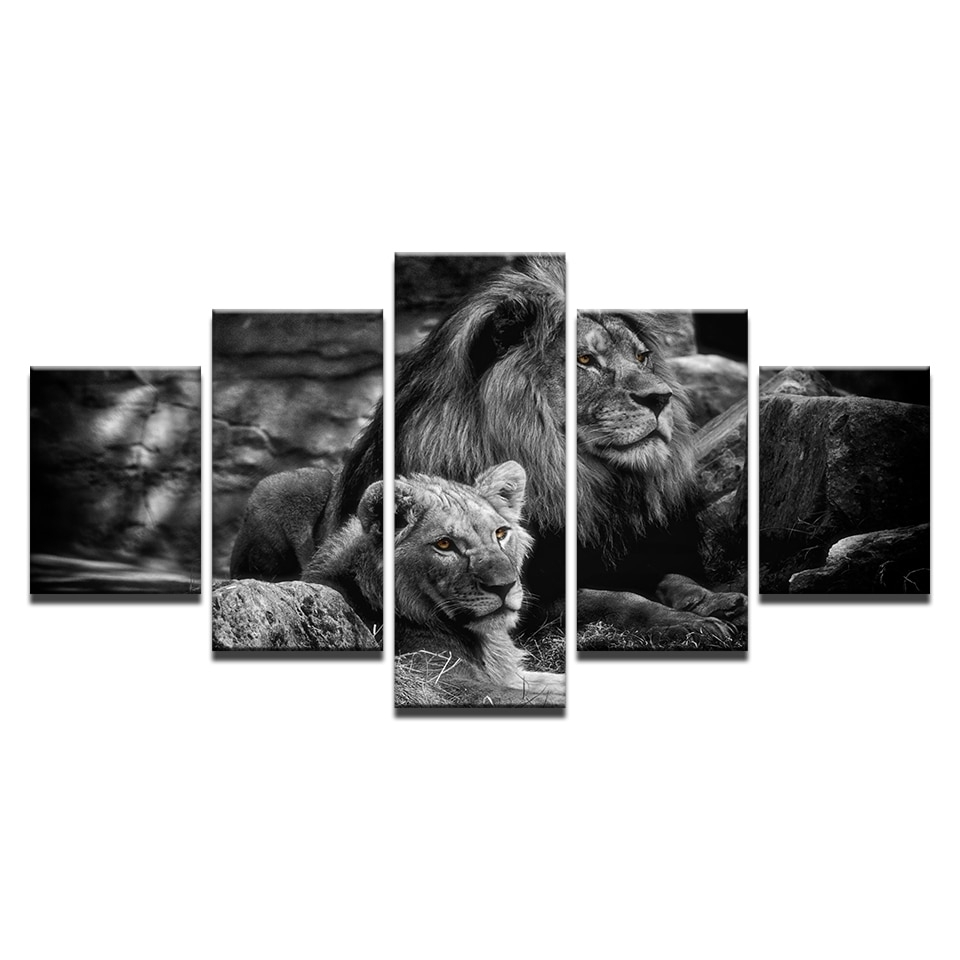 Modular Canvas Wall Art Printed Poster Home Decor Frame 5 Pieces in Black And White Canvas Wall Art (Image 17 of 20)