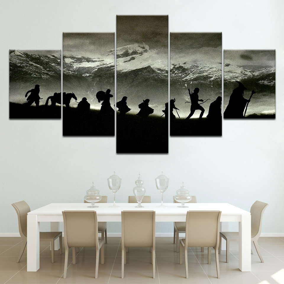 Modular Wall Art Oil Picture Frame Modern Home Decor 5 Pieces Lord in Lord of the Rings Wall Art (Image 16 of 20)