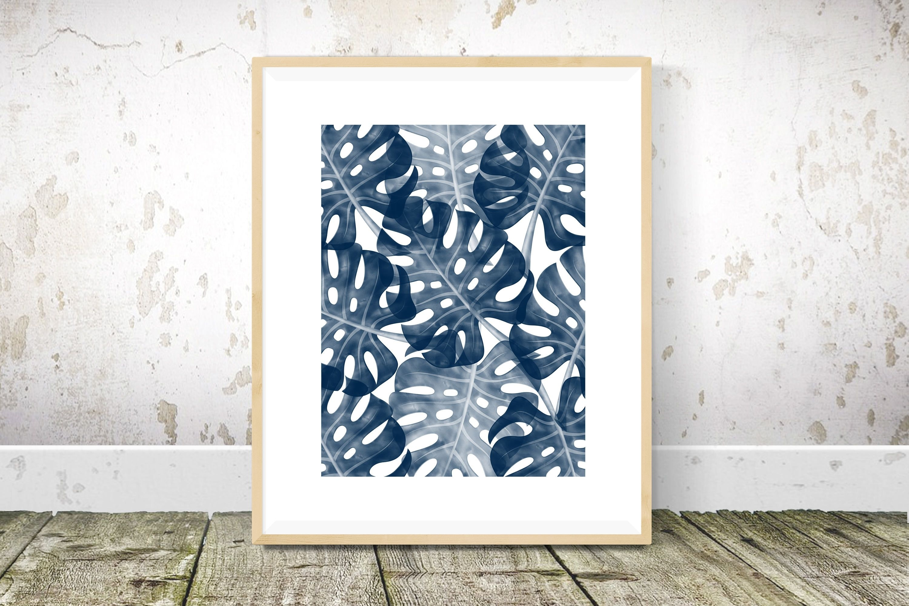 Monstera Print Navy Blue Wall Art Tropical Print Navy Blue | Листья throughout Navy Blue Wall Art (Image 8 of 20)