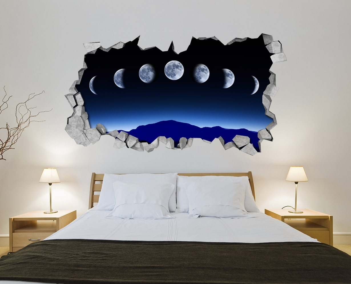 Moon Phases Wall Art – Kids – Bedroom – Wall Sticker – Wall Decal Within 3D Wall Art (View 14 of 20)