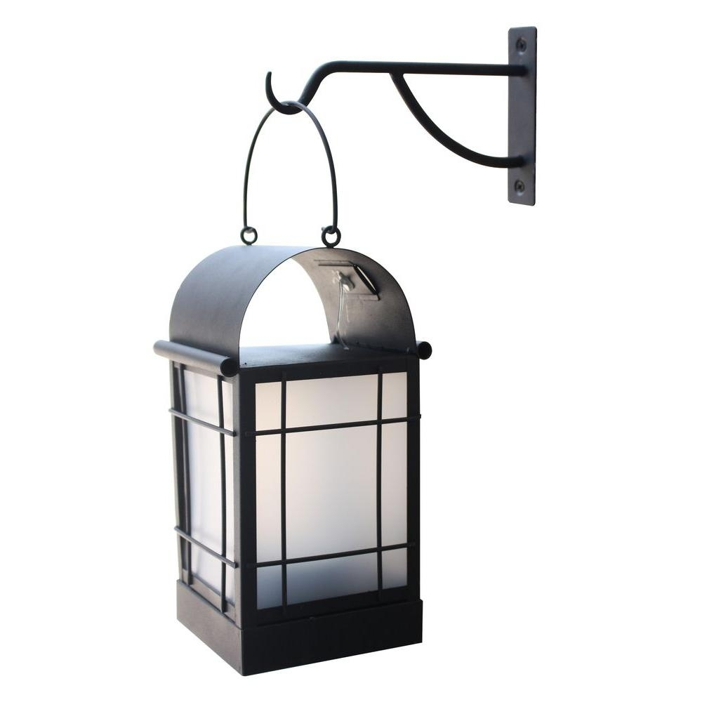 Moonrays Arched 1-Light Black Outdoor Integrated Led Wall Mount with regard to Outdoor Metal Lanterns for Candles (Image 15 of 20)