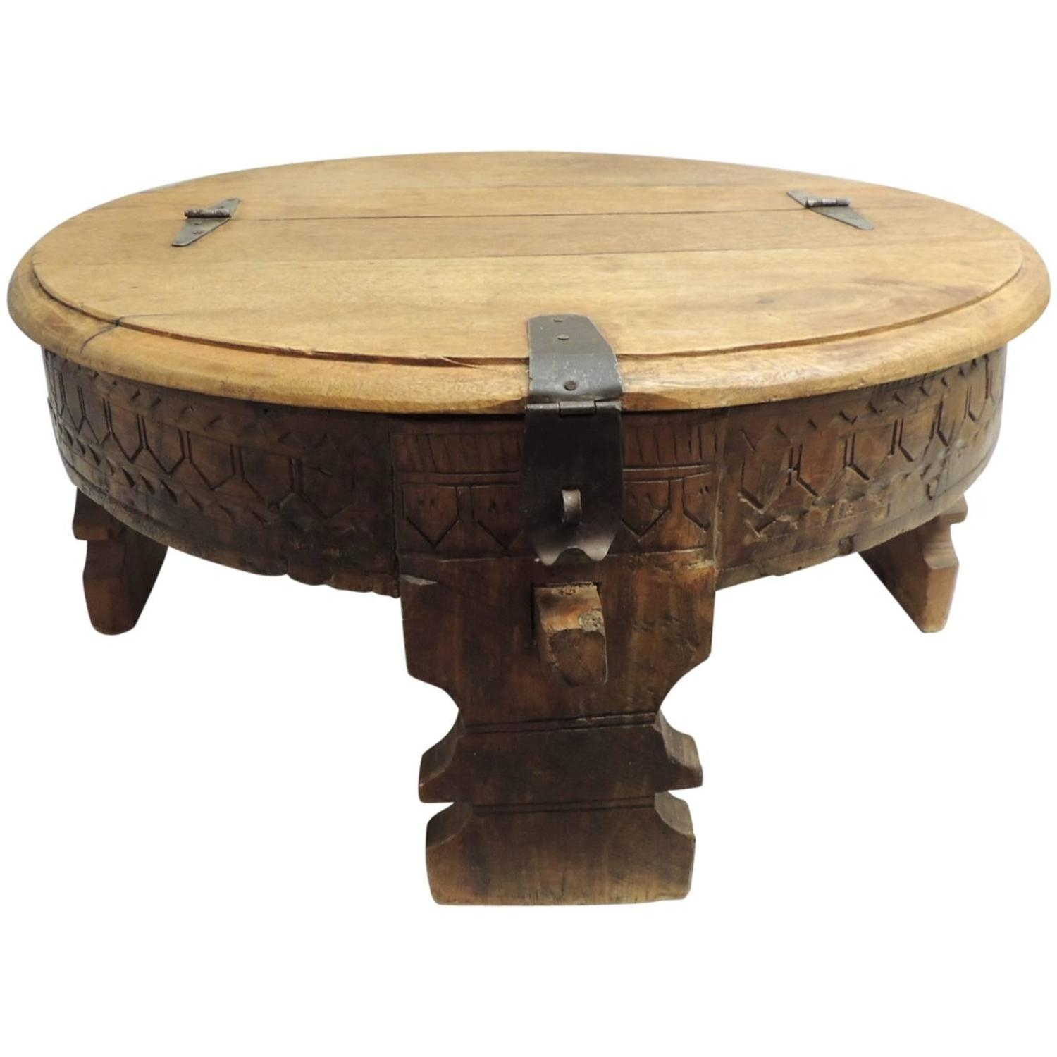 Moroccan Carved Round Coffee Table At 1Stdibs pertaining to Round Carved Wood Coffee Tables (Image 14 of 30)