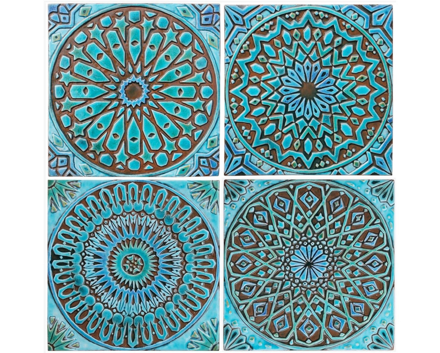 Moroccan Decor, Set Of 4 Moroccan Tiles, Moroccan Wall Art, Outdoor throughout Moroccan Wall Art (Image 6 of 20)