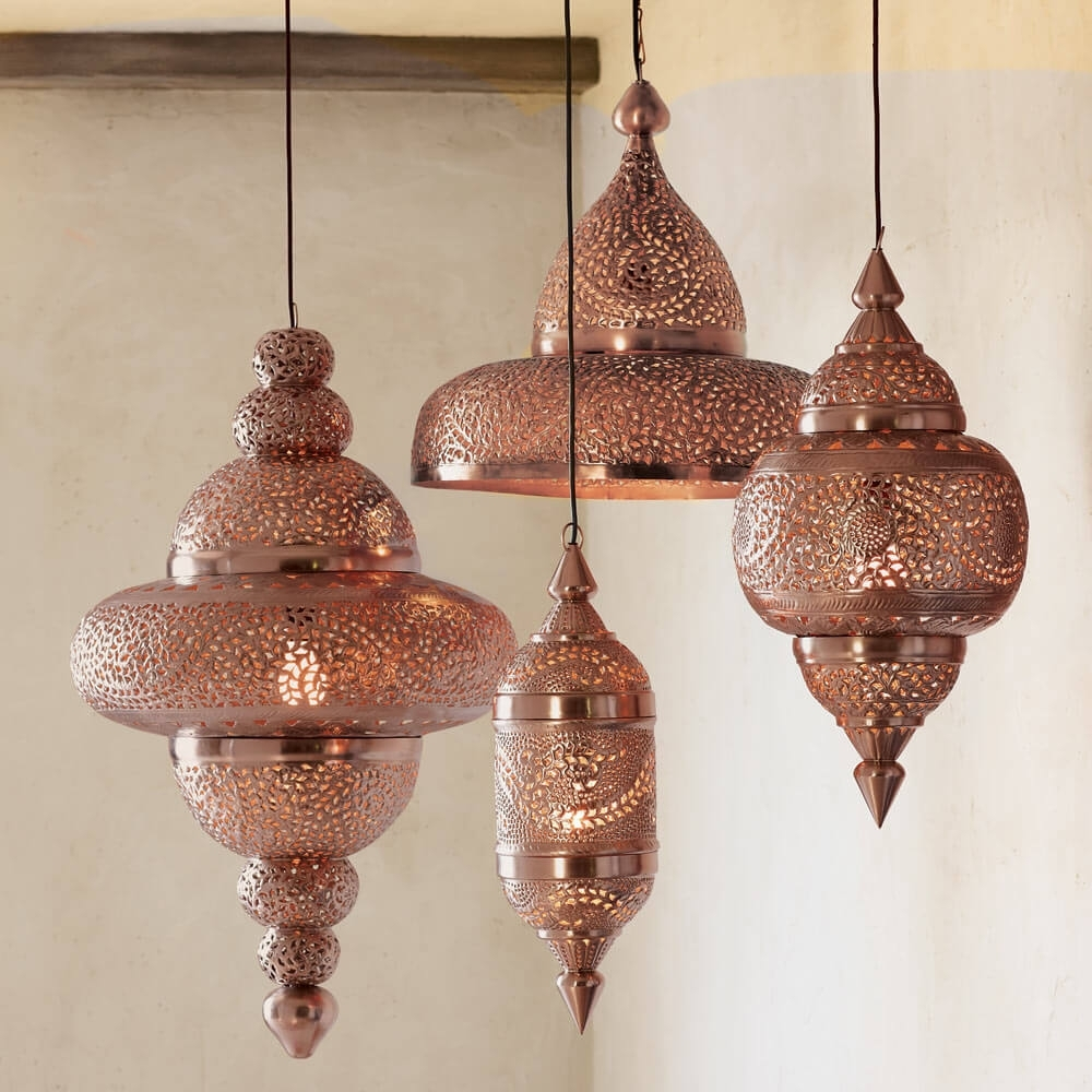 Moroccan Hanging Lamp Collection - Bright Copper | Vivaterra in Outdoor Turkish Lanterns (Image 7 of 20)