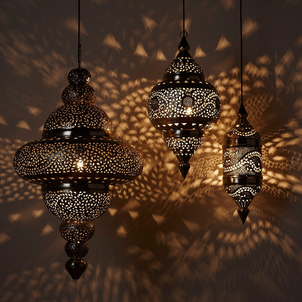 Moroccan Hanging Lamp Collection – Silver Finish | Vivaterra Intended For Outdoor Turkish Lanterns (View 8 of 20)