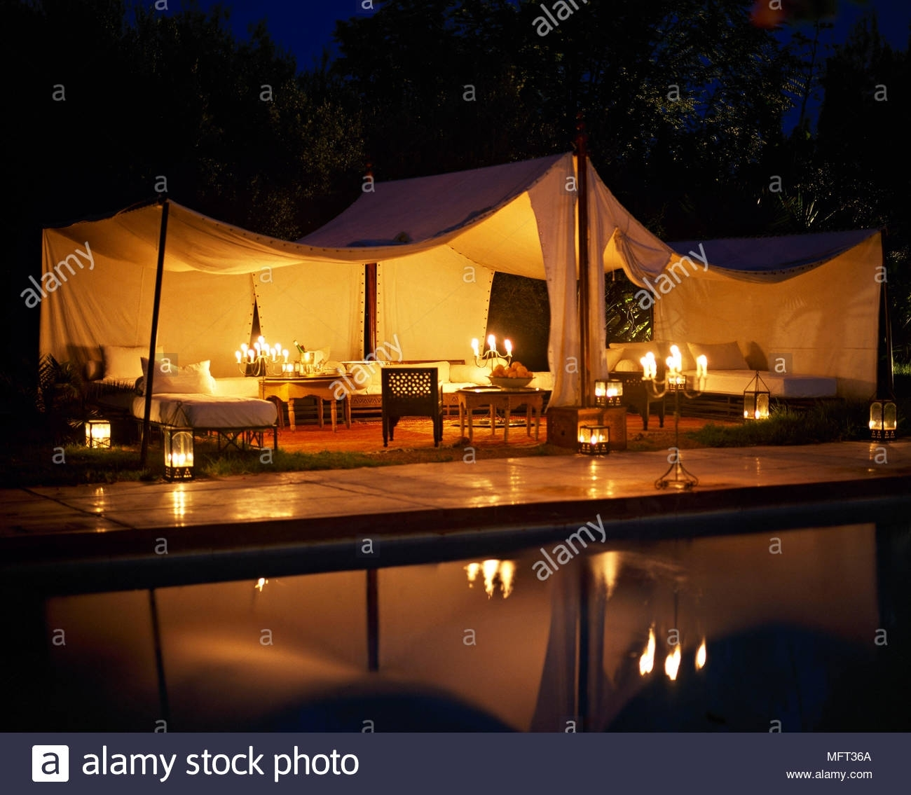 Moroccan Hotel Outdoor Entertaining Lit Marquee At Nightpool with regard to Outdoor Lanterns For Poolside (Image 12 of 20)
