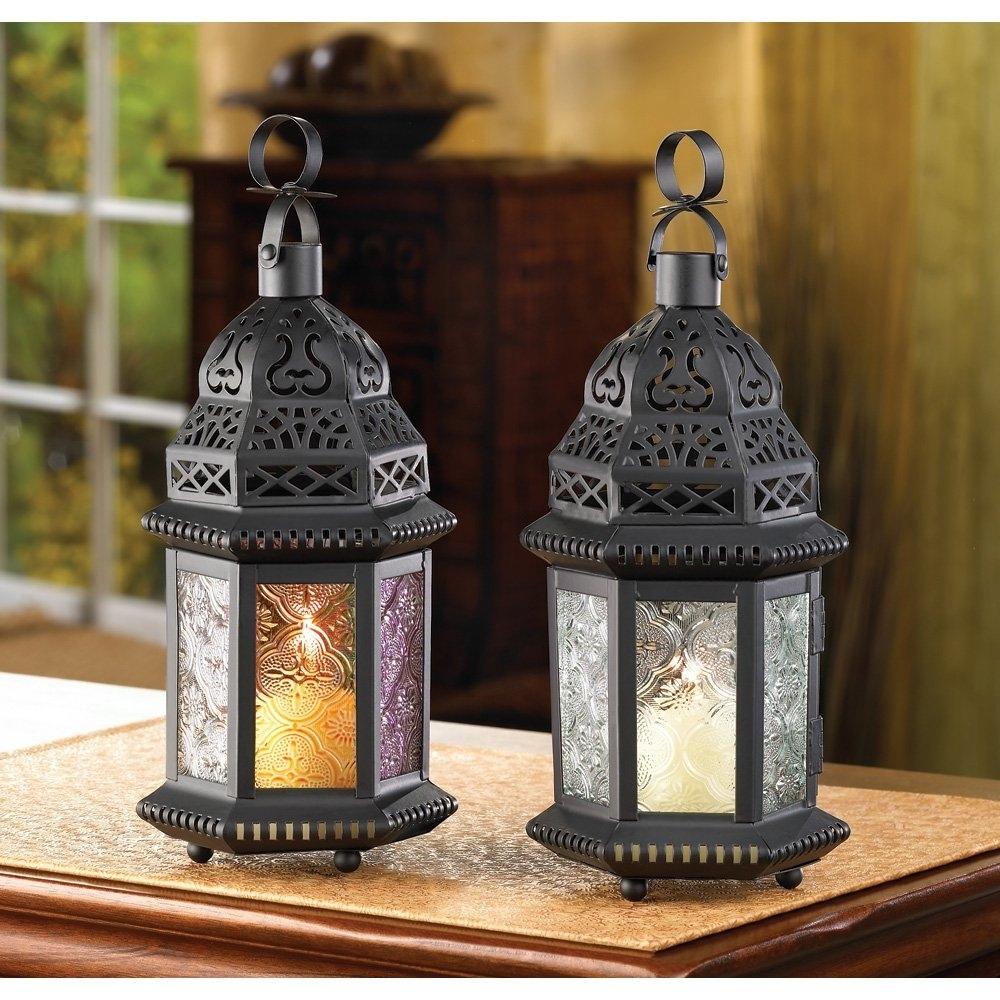 Moroccan Lantern Decor, Multi Colored Glass Outdoor Lanterns For regarding Outdoor Lanterns Decors (Image 12 of 20)