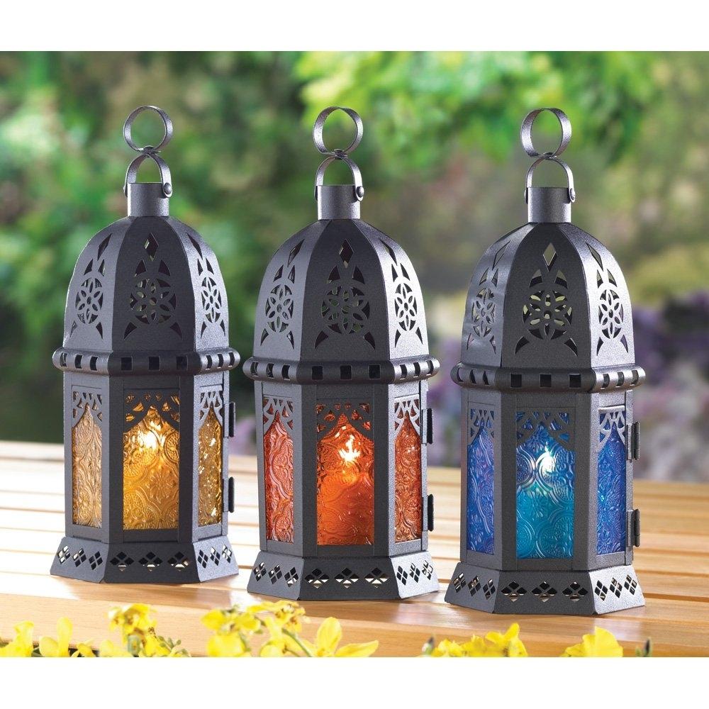 Moroccan Lantern Decor, Yellow Glass Decorative Outdoor Lanterns For in Moroccan Outdoor Lanterns (Image 15 of 20)