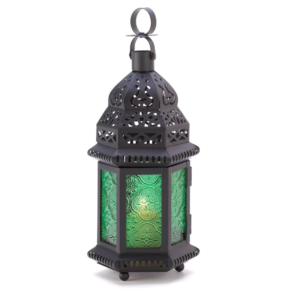 Moroccan Lantern Lamp, Green Glass Large Outdoor Lanterns For regarding Outdoor Glass Lanterns (Image 13 of 20)