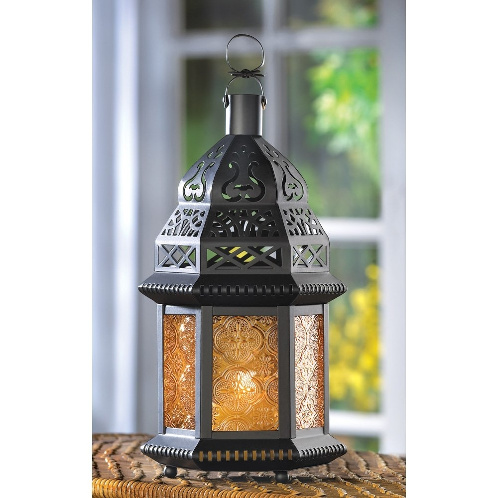 Moroccan Lantern Large, Yellow Glass Decorative Outdoor Lanterns For within Moroccan Outdoor Lanterns (Image 16 of 20)