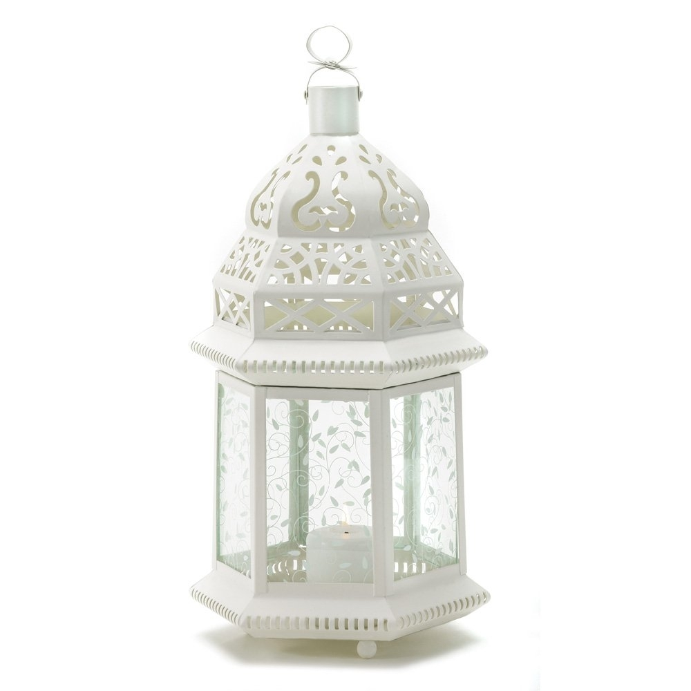 Moroccan Lantern Outdoor, Large White Candle Lanterns Decorative for Outdoor Lanterns for Tables (Image 9 of 20)