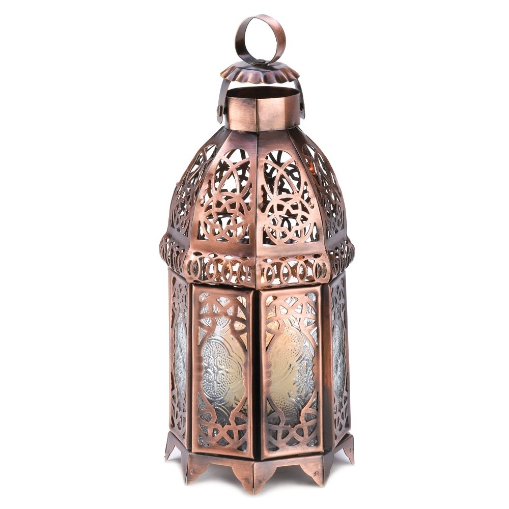 Moroccan Lanterns, Rustic Lantern Table Lamp, Copper Decorative intended for Outdoor Lanterns For Tables (Image 10 of 20)