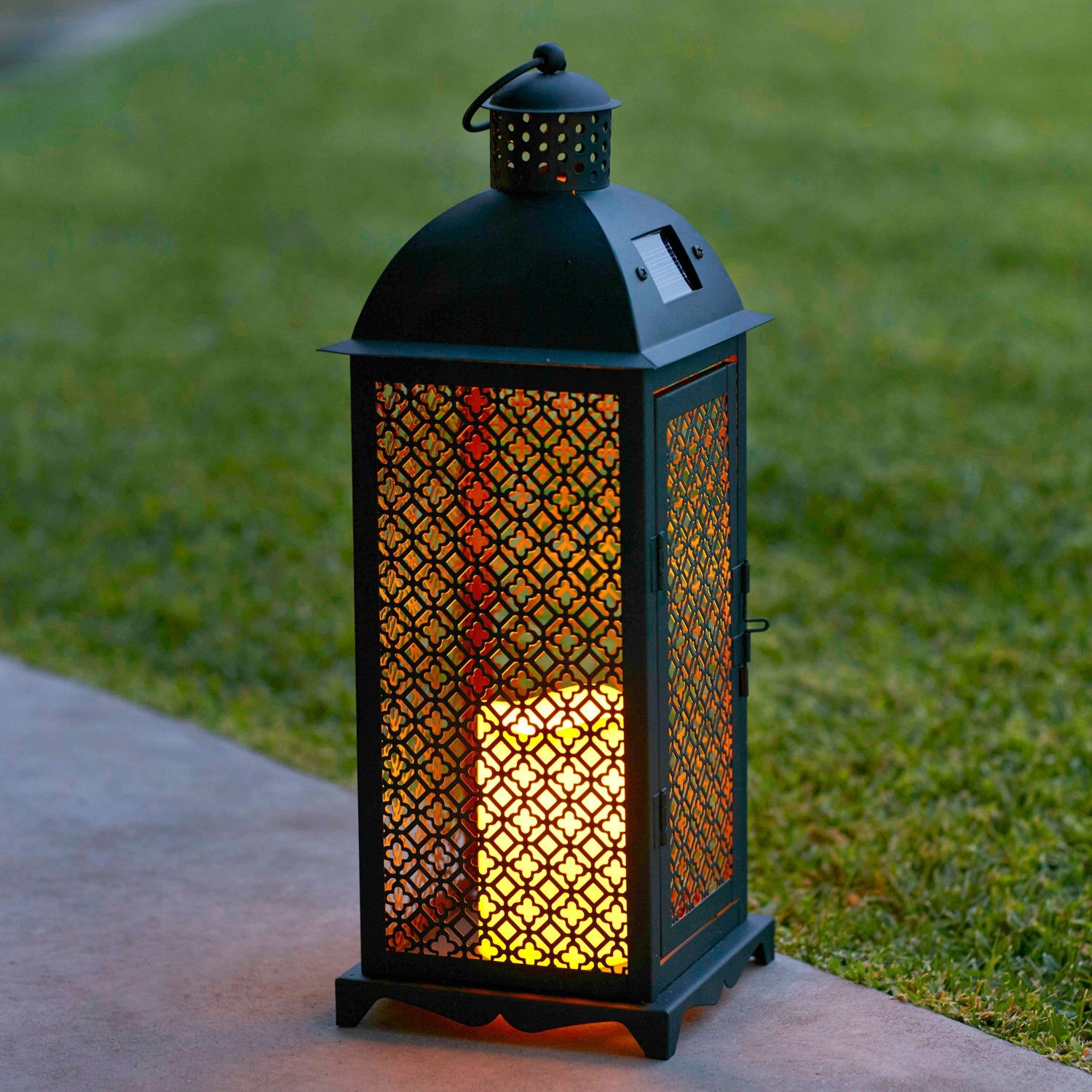 Moroccan Solar Powered Led Garden Outdoor Flameless Candle Lantern With Regard To Outdoor Lanterns With Led Candles (View 12 of 20)