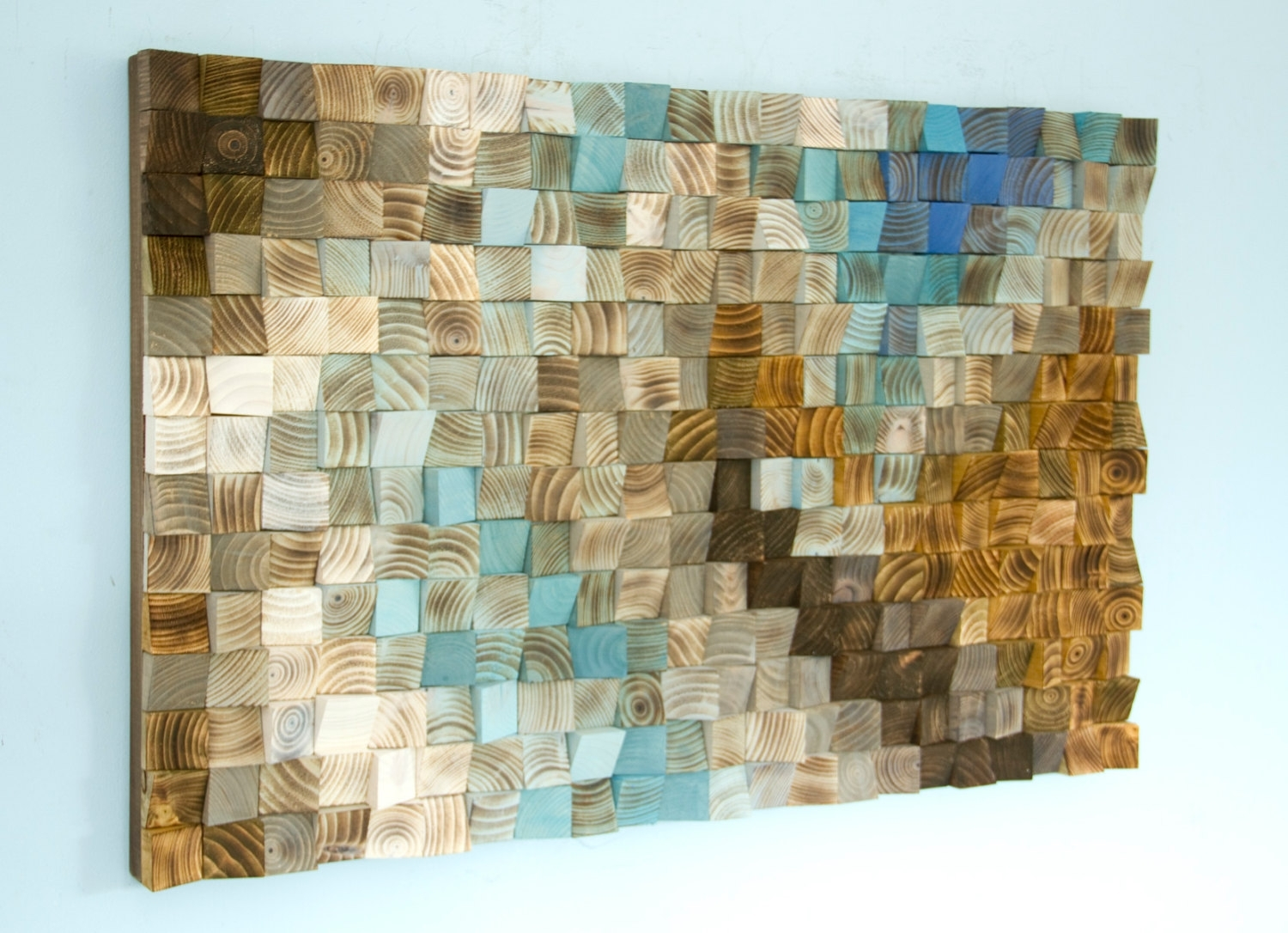Mosaic Wall Art Elegant Wood Office Decor Geometric 24 X 36 Within intended for Mosaic Wall Art (Image 11 of 20)