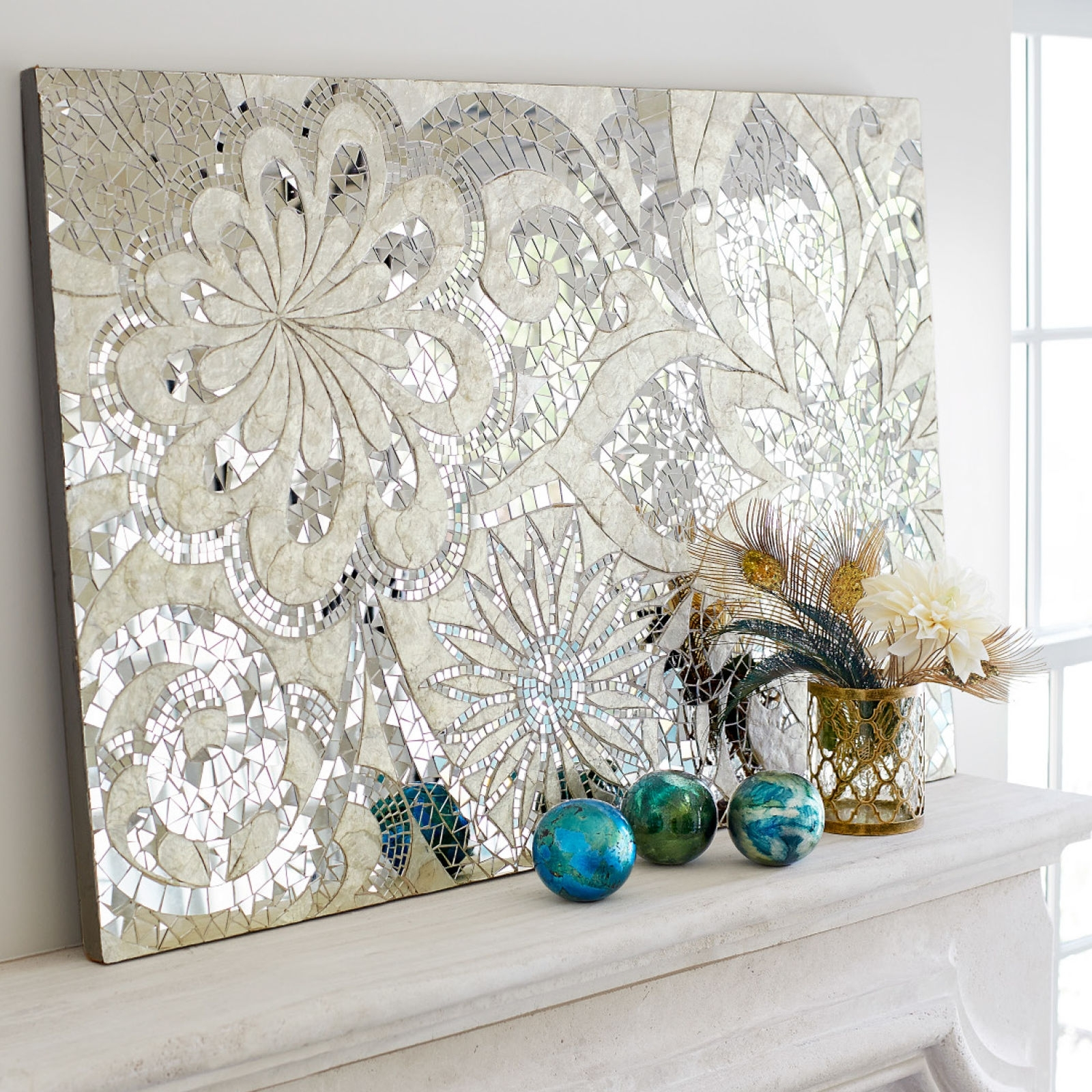 Mosaic Wall Art New Floral Capiz Panel Mirror Tiles Indonesia And throughout Mosaic Wall Art (Image 13 of 20)