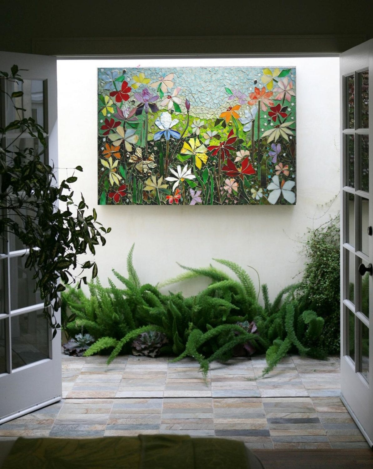 Mosaic Wall Art Stained Glass Wall Decor Floral Garden Indoor Pertaining To Stained Glass Wall Art (View 18 of 20)