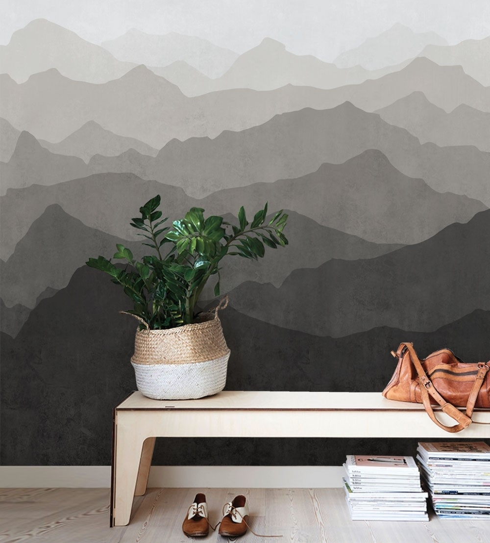 Mountain Mural Wall Art Wallpaper – Warm Grey – Peel And Stick In Stick On Wall Art (View 8 of 20)