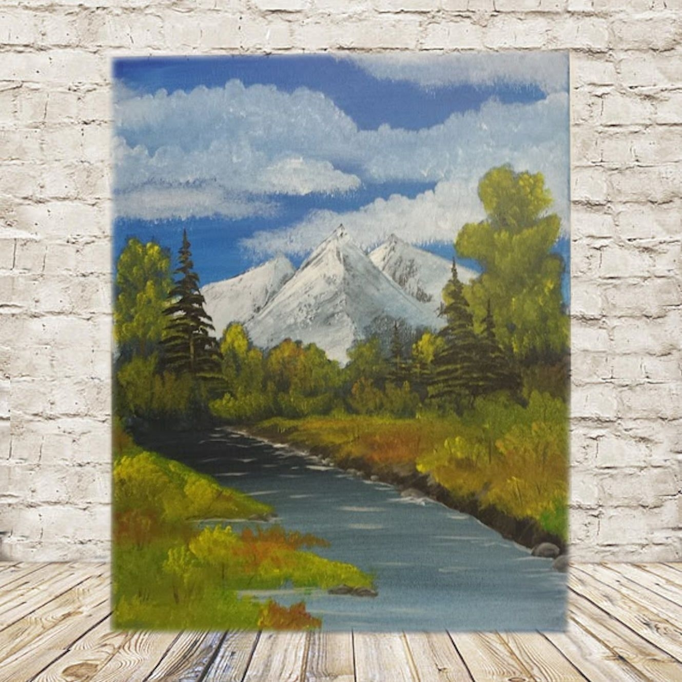 Mountainside Stream 16X20 Acrylic Painting / Wall Art Inspired Inside Ross Wall Art (View 15 of 20)