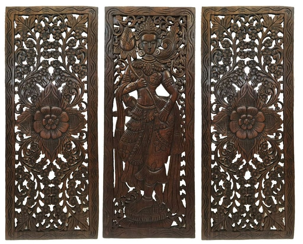 Multi Panels Oriental Home Decor. Wood Carved Floral Wall Art (View 13 of 20)