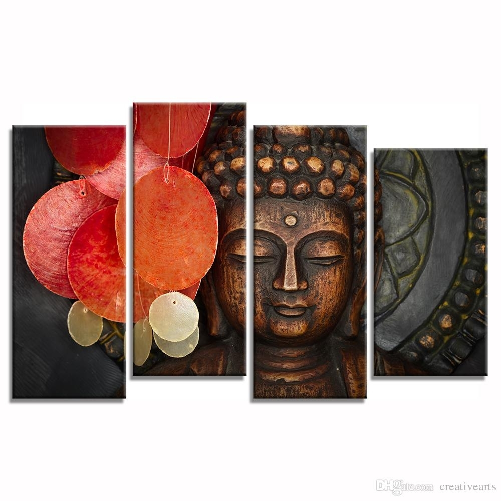 Multi Pieces Buddha Canvas Wall Art For Living Room Decoration with Multi Piece Wall Art (Image 14 of 20)