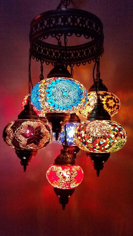 Multicolor Handmade 7 Balls Moroccan Mosaic Hanging Lamp Lantern pertaining to Outdoor Turkish Lanterns (Image 15 of 20)