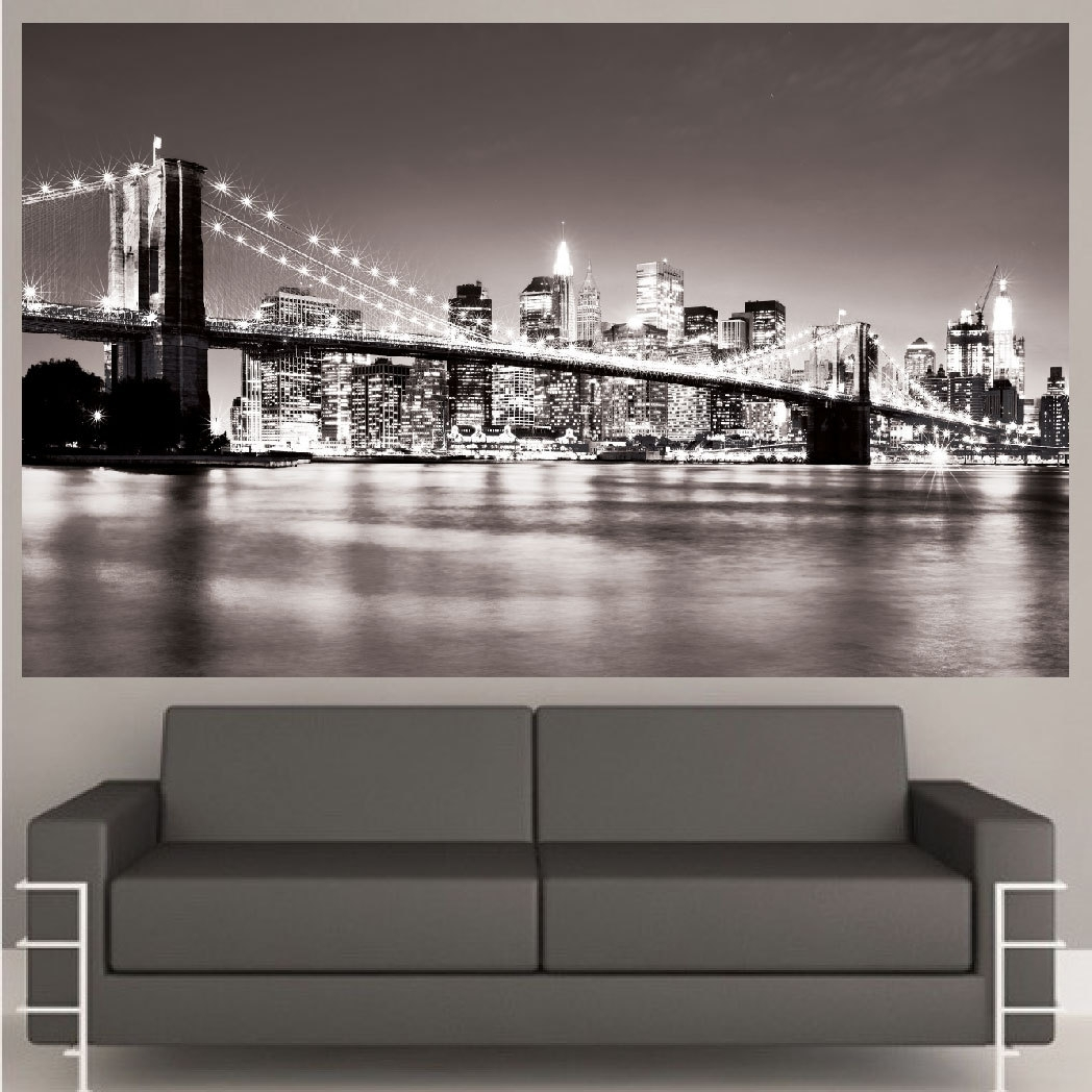 Mural New York City Wall Art Decal Nyc Cityscape Bridge Lighted Grey within New York City Wall Art (Image 14 of 20)