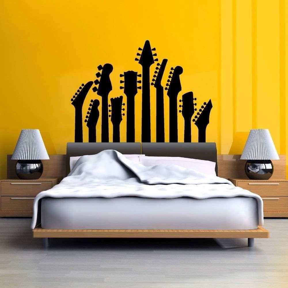 Music Wall Art Elegant Row Of Guitar Necks Wall Art Sticker Music within Music Wall Art (Image 8 of 20)