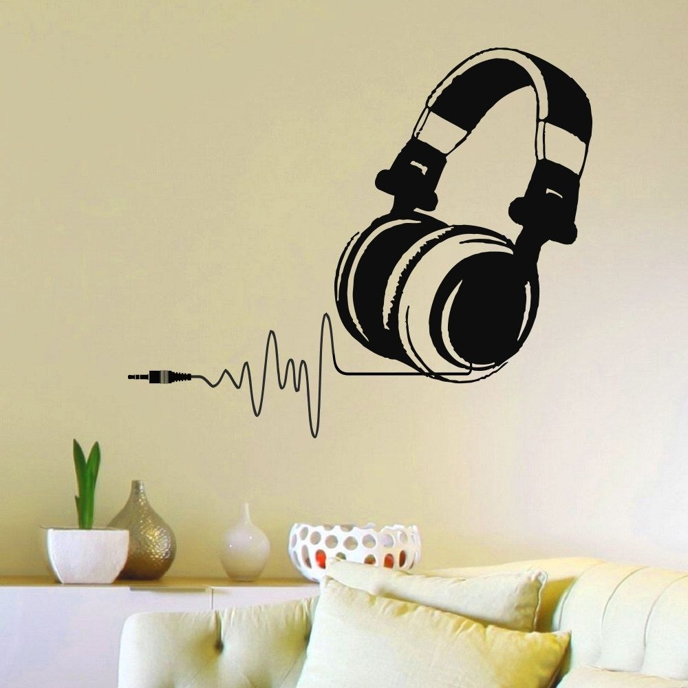 Music Wall Decal Dj Headphone Audio Music Pulse Sign Removable with regard to Music Wall Art (Image 9 of 20)
